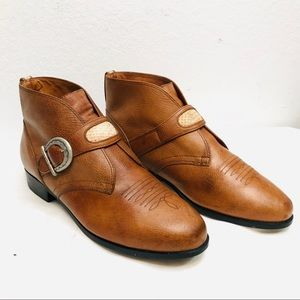 Ariat Ankle Boots - Cognac Leather Western Buckle